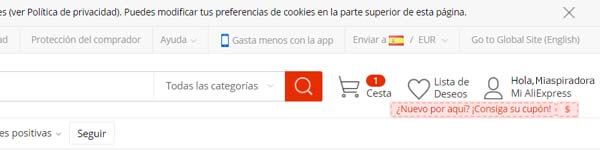 Aliexpress elegir país y moneda