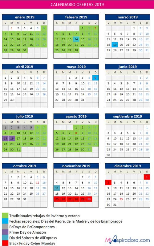 Calendario de ofertas 2019