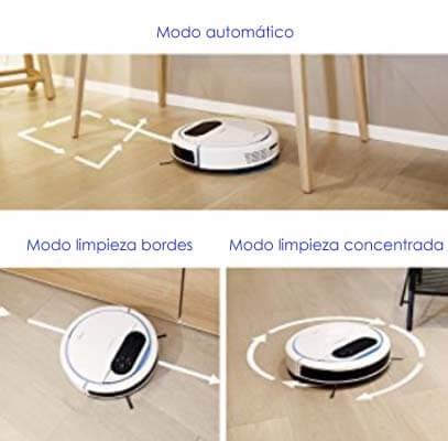 a Deebot 300 cuenta con 3 modos de limpieza + vuelta a la base de carga