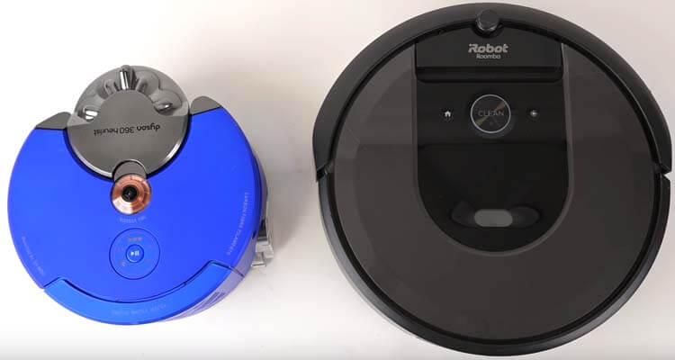 Dyson 360 Heurist vs Roomba i7 desde arriba